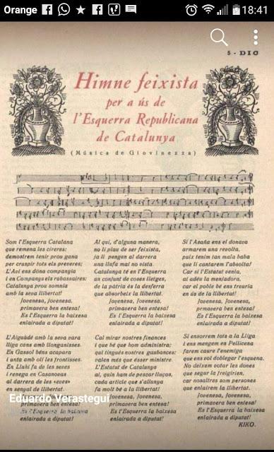 Himne feixista per a ús de l´Esquerra Republicana de Catalunya.