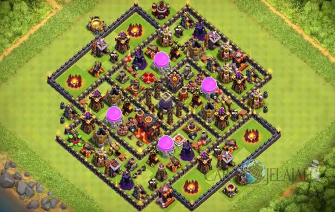Base Farming TH 9 COC Update Bomb Tower Terbaru 2017 Tipe 3