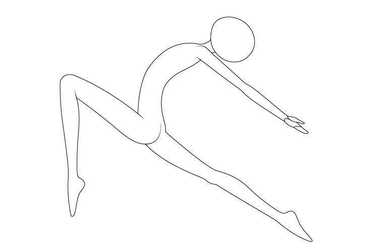 Anime balet berpose menggambar leher