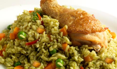 Peruvian Cuisine Recipe Arroz Con Pollo Green Rice With Chicken
