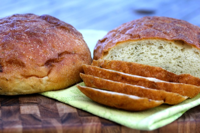 Potato Rosemary Bread with Roasted Garlic from bread baker's apprentice