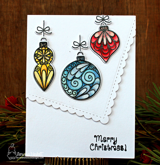 Christmas Ornament card by Larissa Heskett | Beautiful Baubles Stamp Set by Newton's Nook Designs #newtonsnook