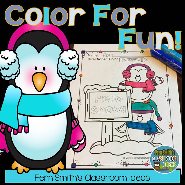 Fern Smith's Classroom Ideas Penguin Fun! Color For Fun Penguin Printable Coloring Pages at TeacherspayTeachers, TpT.