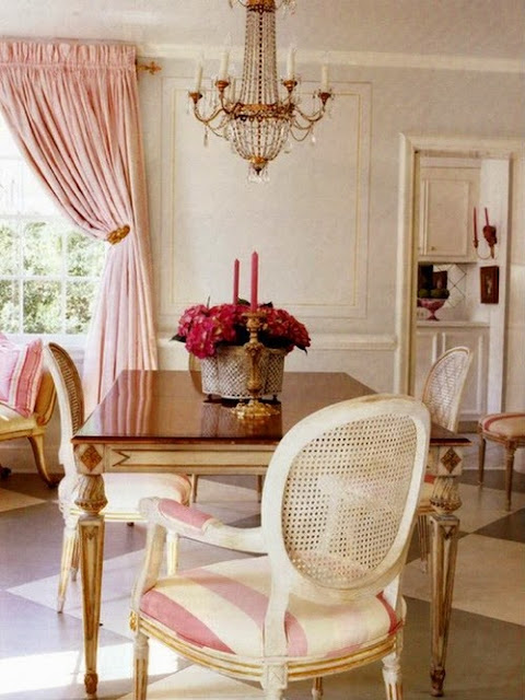 pink dining room and striped chairs - Interiors Decor