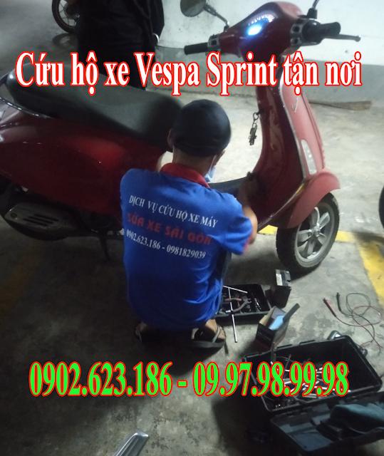Cứu hộ xe máy Vespa Sprint tận nơi tại Tp.HCM. Gọi ngay 0902623186
