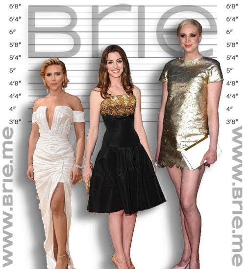 Scarlett Johansson, Anne Hathaway, and Gwendoline Christie height comparison
