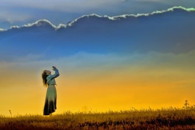 sunset girl worship