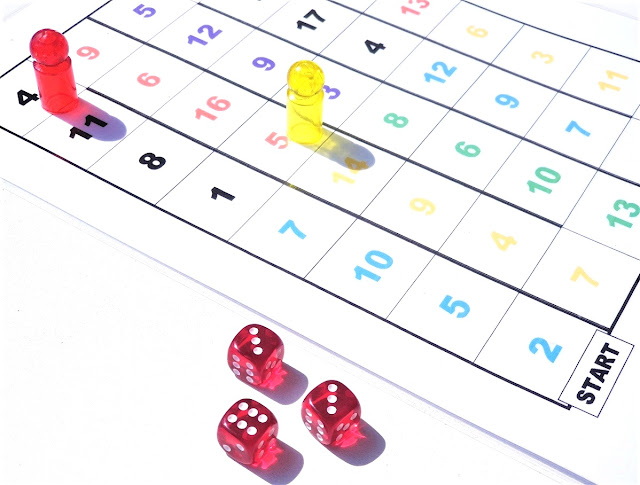 na zdjęciu jest plansza z kolorowymi liczbami podzielonymi na sekcje, które wyznaczają tor wyścigu, na planszy stoją pionek czerwony i żółty a obok leża trzy kostki z wynikami 6,3,3