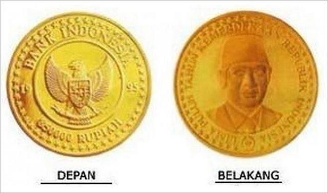 Uang koin Indonesia yang Sangat Mahal Pecahan Rp 850 ribu Bahan Emas Dengan Gambar Soeharto