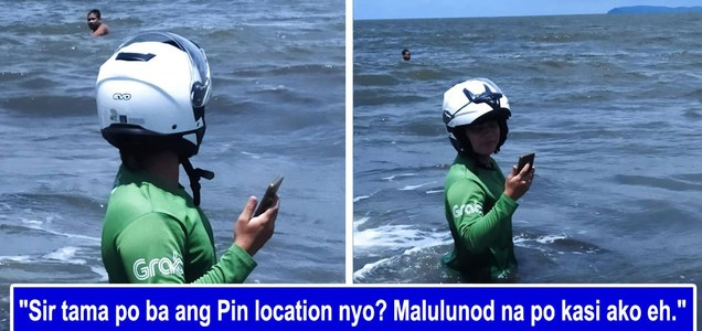Hilarious viral post of Grab rider who ends up wading at sea after the pin location of his customer pointed him there