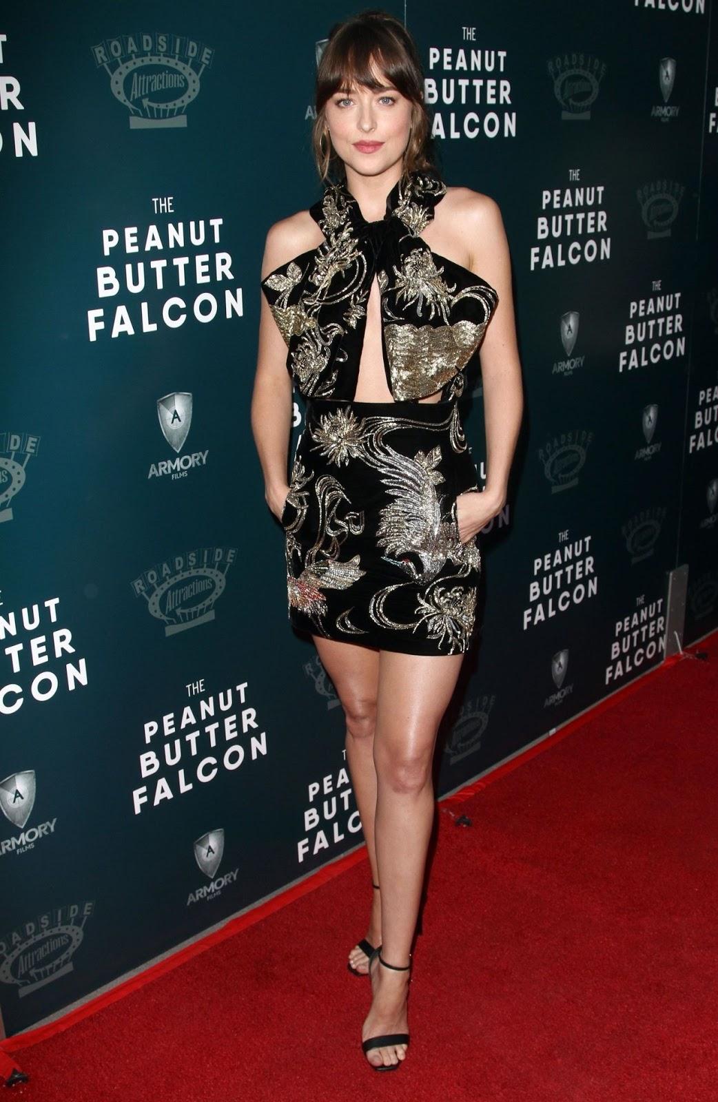 Dakota Johnson dazzles in black embroidered mini-dress for The Peanut Butter Falcon screening in Los Angeles