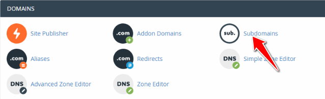 Click on Subdomains in cPanel of A2 Hosting