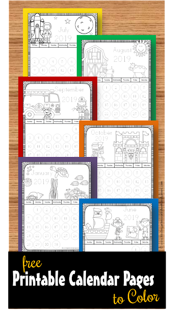 free 2018 2019 printable calendar pages to color these monthly themed coloring sheets are