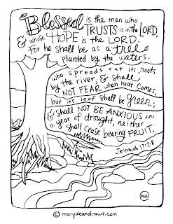 Jeremiah 17:7-8 Bible verse coloring page