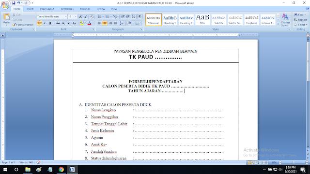 Contoh Formulir Pendaftaran Paud TK KB TPA RA Format doc
