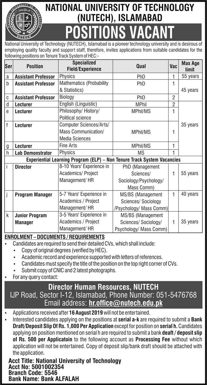 Advertisement for The National University of Technology Jobs