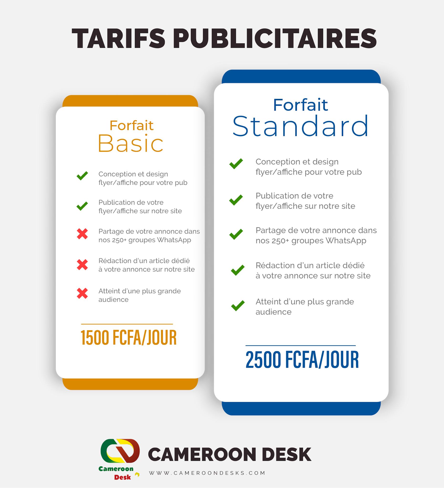 tarifs publicitaires cameroon desk