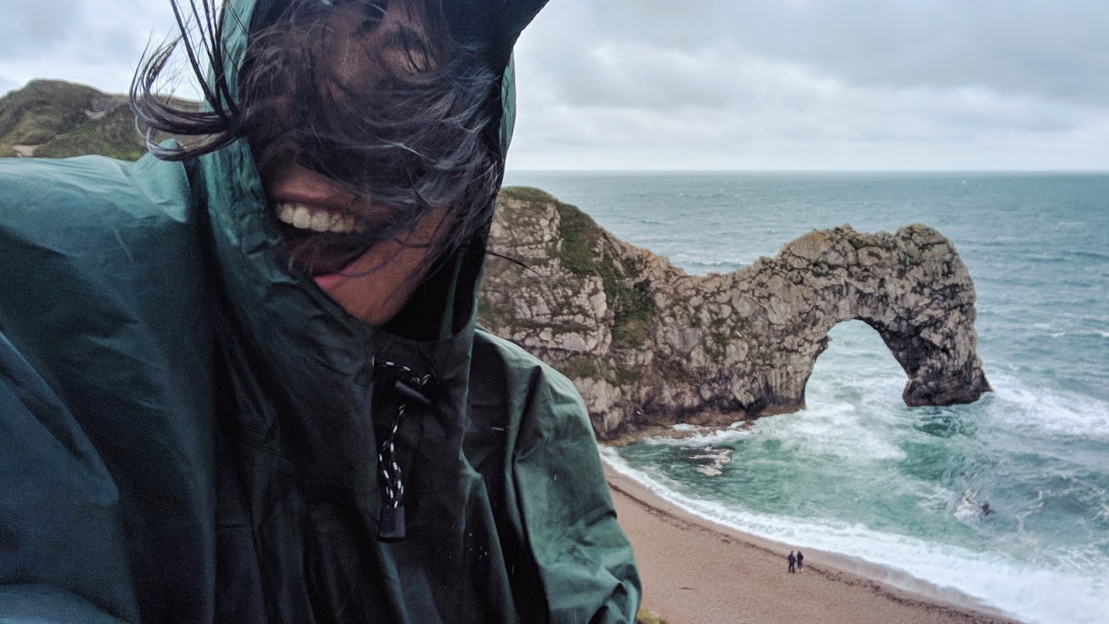 horrendous wind at Durdle Door