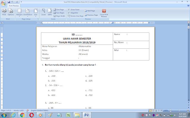 Soal uas matematika semester 1 kelas 6 kurikulum 2013 dan Kunci Jawaban
