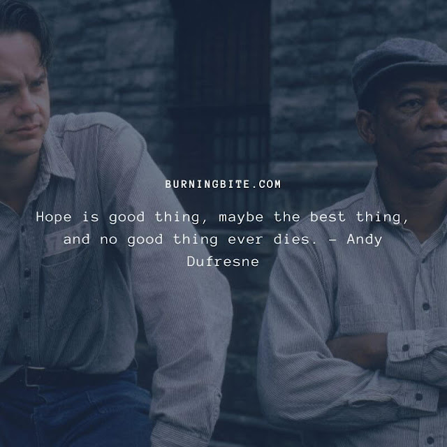 Hope is good thing, maybe the best thing, and no good thing ever dies. - Andy Dufresne