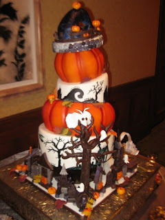 Topsy Turvy Pumpkin Halloween Wedding Cakes
