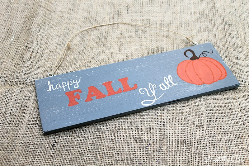 DIY fall painted sign post