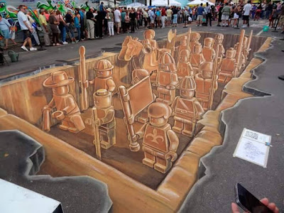Final & Ready Step Of 3d Street Painting
