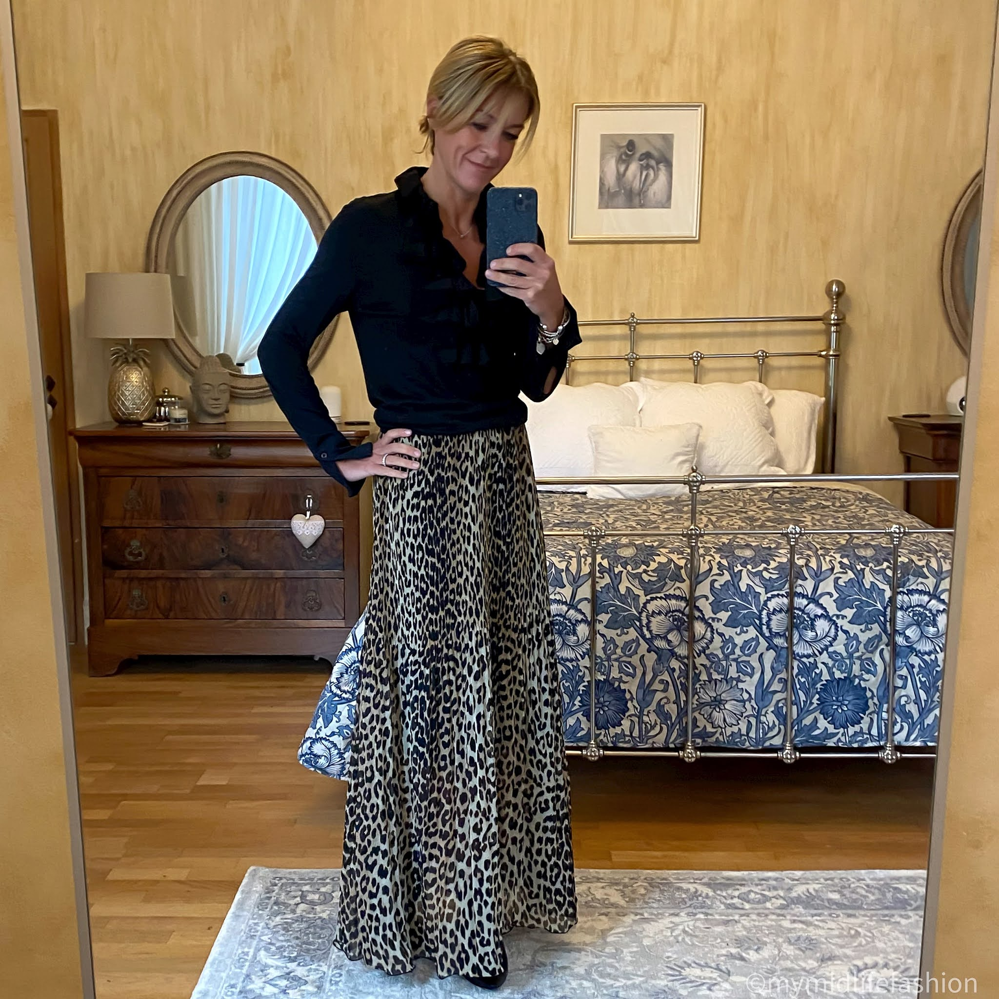 my midlife fashion, sole bliss Brooke black leather ankle boot, Ralph Lauren ruffle blouse, ganni pleated leopard print maxi skirt