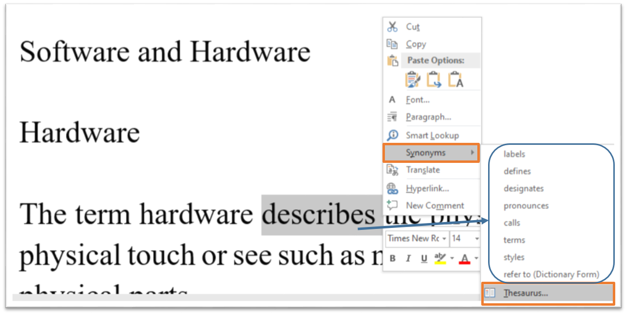 Thesaurus using right click in MS-Word Hindi Notes?