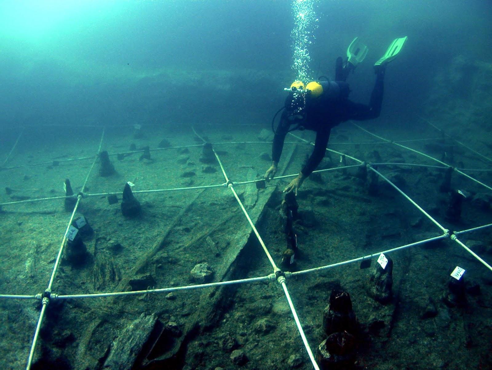 Yacimiento neolítico subacuático de La Marmotta, cerca de Roma. Foto: Museo delle Civiltà.