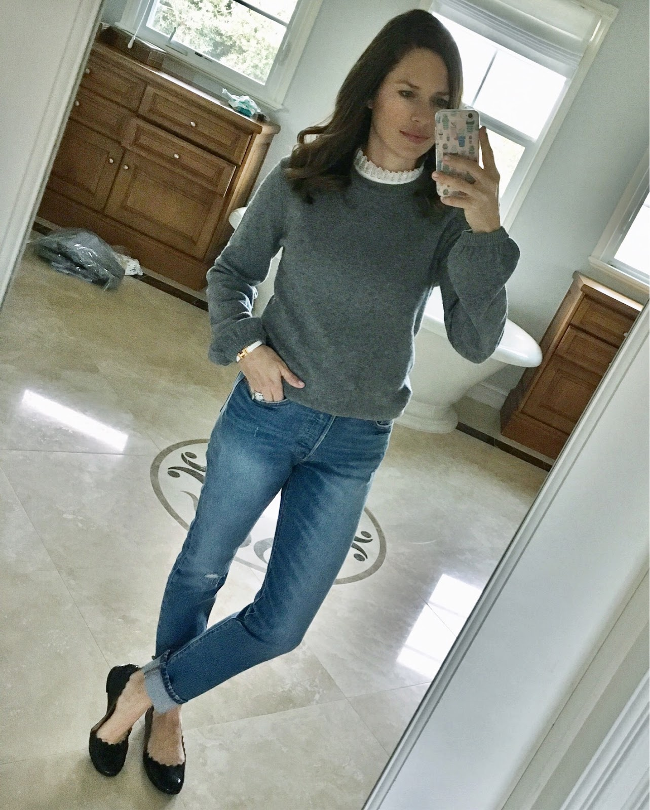ruffle collar sweater outfit