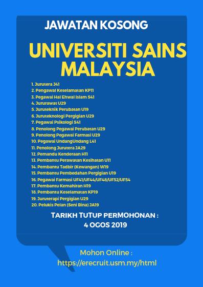 Jawatan Kosong Pelbagai Jawatan Di Universiti Sains Malaysia 2019