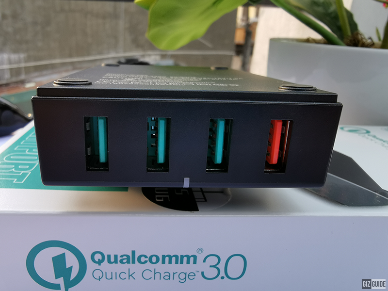 The bright orange-colored ports is the one with Qualcomm Quick Charge 3.0