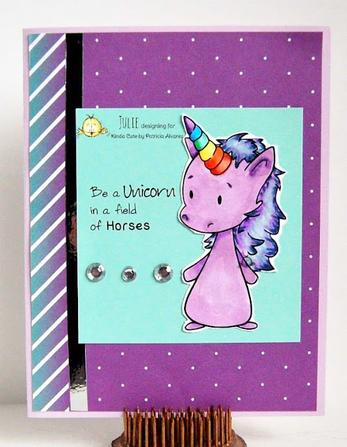 Card using unicorn digital stamp
