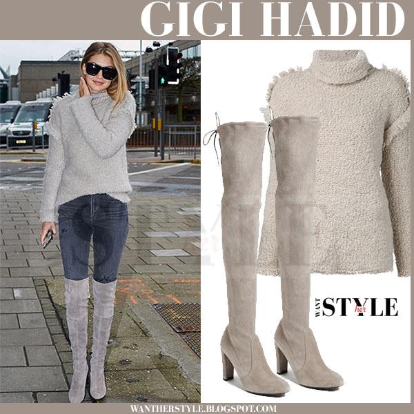 12e883e54b Gigi Hadid in beige knit turtleneck iro cliff sweater and beige grey suede  stuart weitzman highland