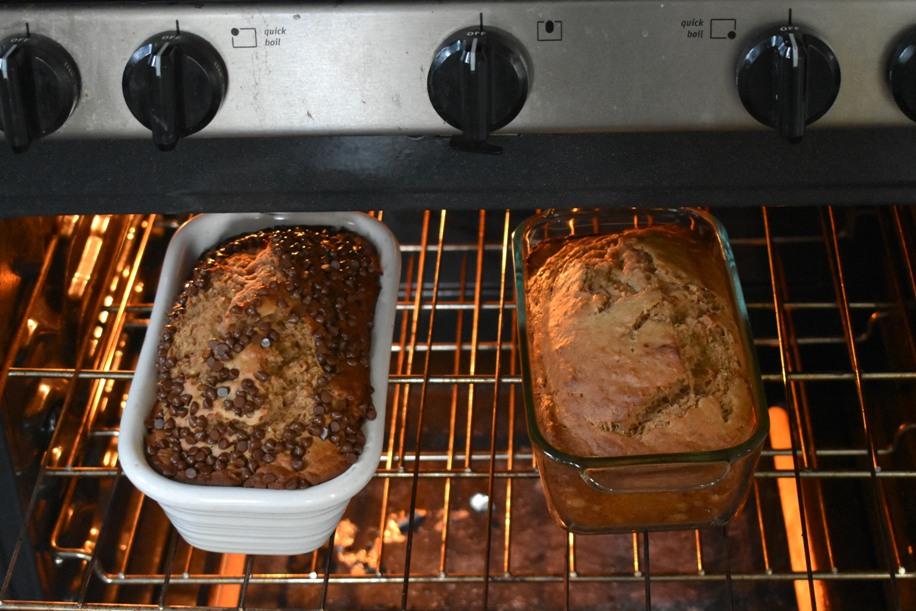 Loaves of banana bread baking