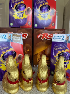 Pile of Easter eggs and chocolate bunnies