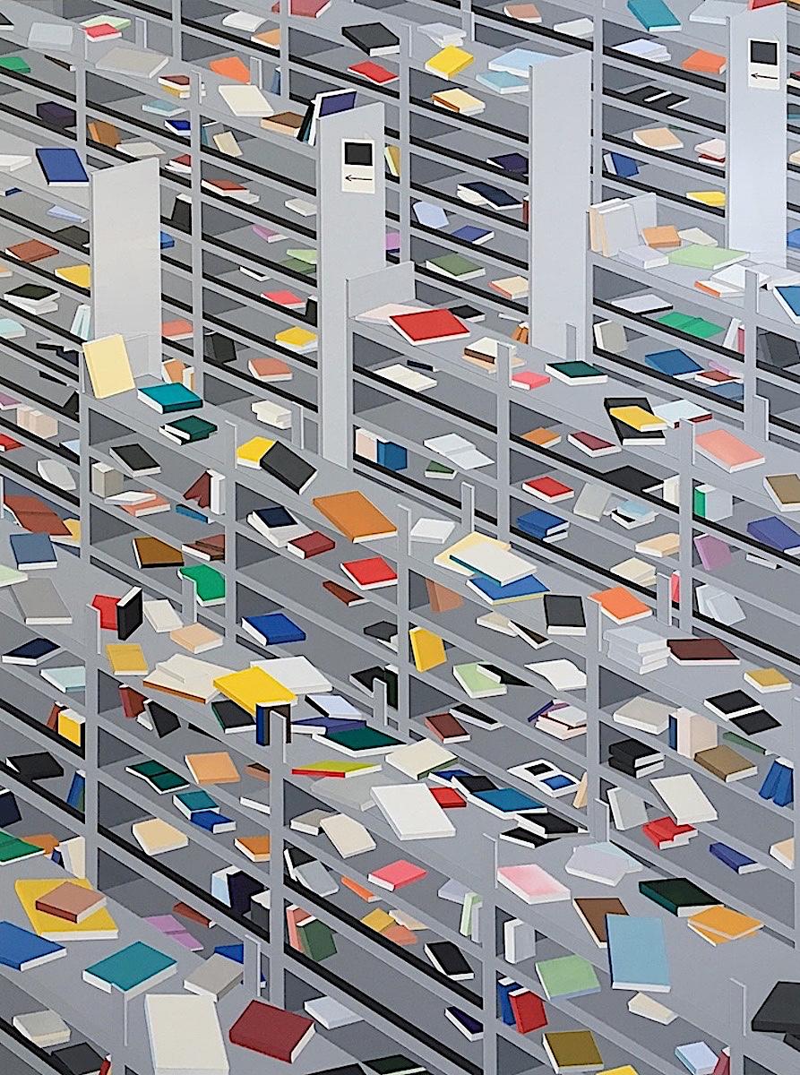 Daniel Rich art, scattered messy library books on shelves