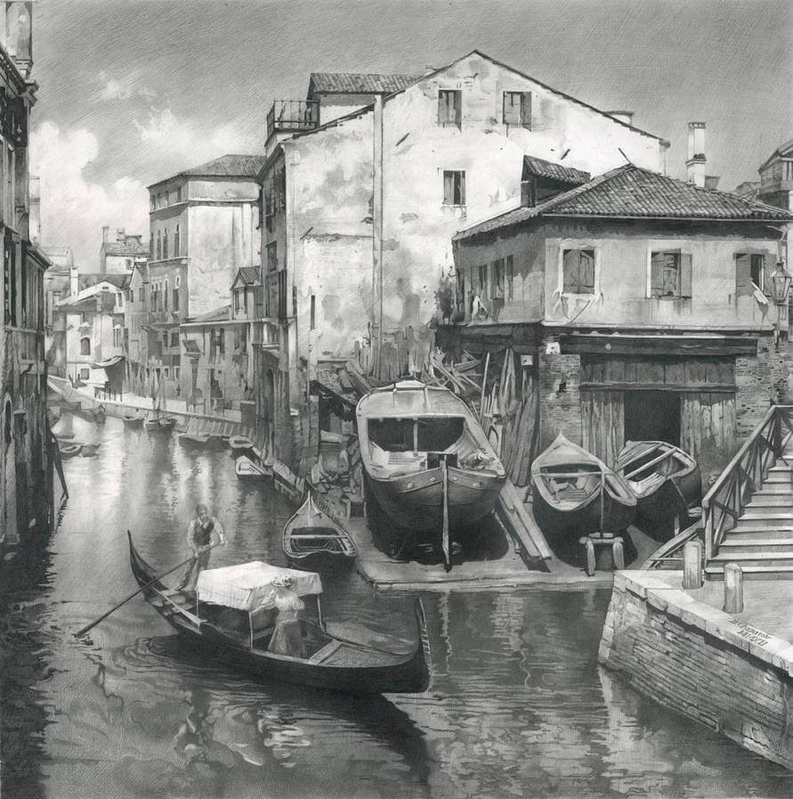 02-Old-Venice-Denis-Chernov-Urban-Architecture-Pencil-Drawings-www-designstack-co