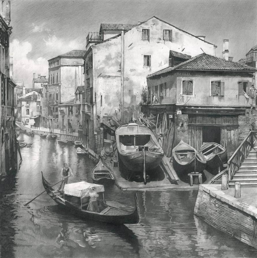 02-Old-Venice-Denis-Chernov-Urban-Architecture-Pencil-Drawings-www-designstack-co