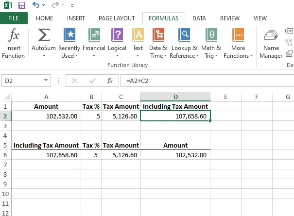 How to calculate GST or Income tax in excel
