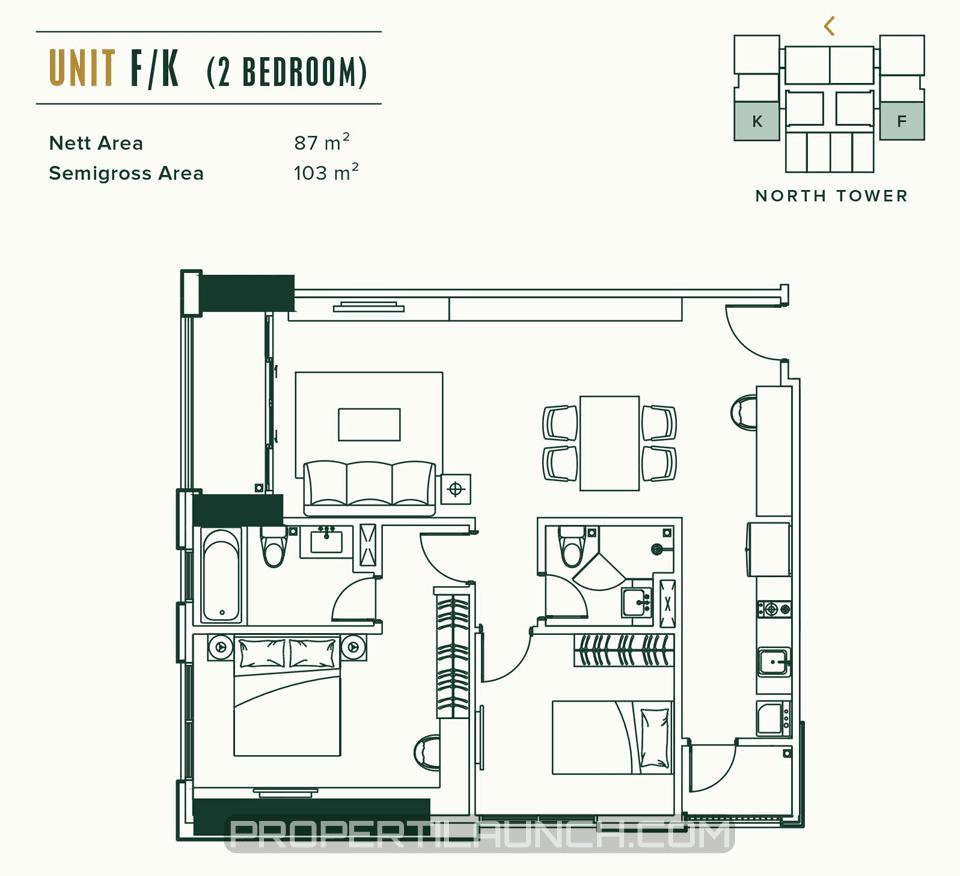Unit A/D 2BR Apartemen Southgate Simatupang
