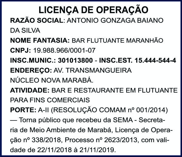 LICENÇA DE OPERAÇÃO - BAR FLUTUANTE DO MARANHÃO - MARABÁ/PA