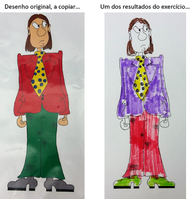 Fotografias da imagem original a copiar e do resultado da experiência... As diferenças nas cores são bastantes!