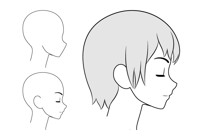 Gadis anime gambar pemandangan sisi santai / tertutup mata