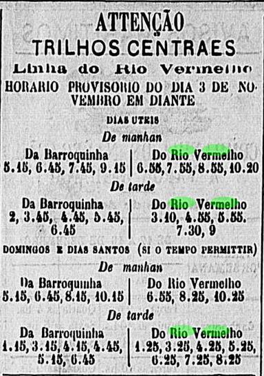 Horários do Bond do Rio Vermelho em 1876
