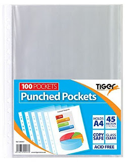 Tiger A4 strong transparent poly punched pockets x 100 sleeves/wallets £3.49 FREE P&P