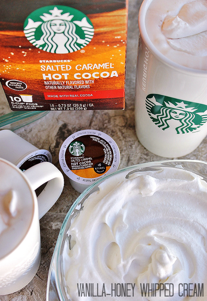 This simple Honey-Vanilla Whipped Cream is easy to whip up with just 3 ingredients in a few minutes. Experience the flavor of fresh whipped cream with new Starbucks #HotCocoa #KCup pods! #IC (ad)