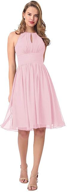 Gorgeous Pink Short Chiffon Bridesmaid Dresses