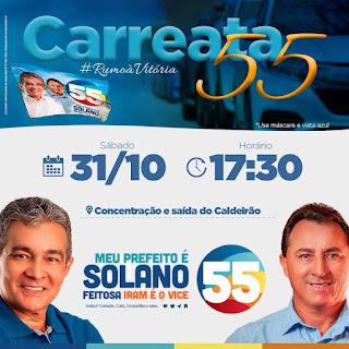 Candidatos a prefeito e Vice Prefeito de Campos Sales, José Solano Feitosa e Iran Silva, respectivamente participam na tarde deste sábado (31), da carreata do 55